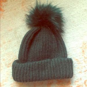 Topshop Dark Green Knit Beanie With Pom Pom